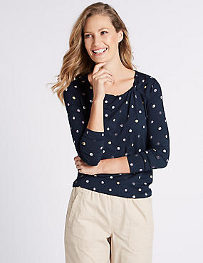 Spotted Twisted Neck Long Sleeve Top