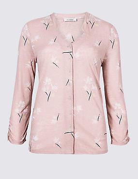 Floral Print 3/4 Sleeve Shirt
