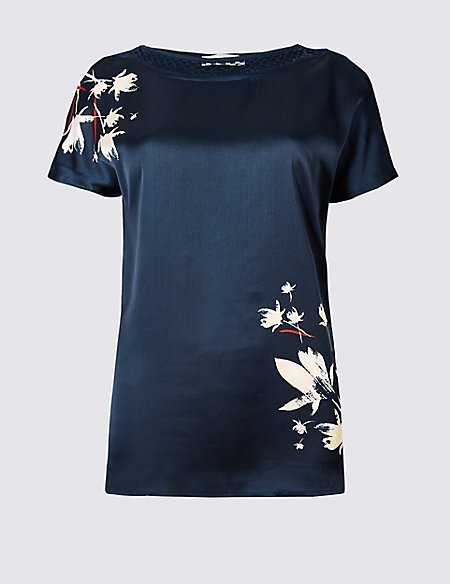 Floral Print Woven Front Short Sleeve Top
