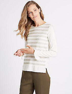 Striped Round Neck Long Sleeve Tunic