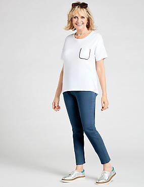 Pocket Trim Round Neck Short Sleeve T-Shirt