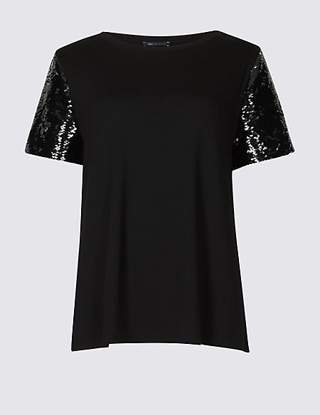 Sparkly Round Neck Short Sleeve T-Shirt