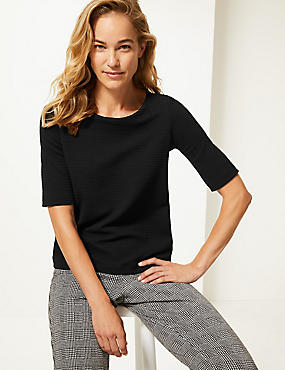 Ripple Textured Round Neck Half Sleeve Top