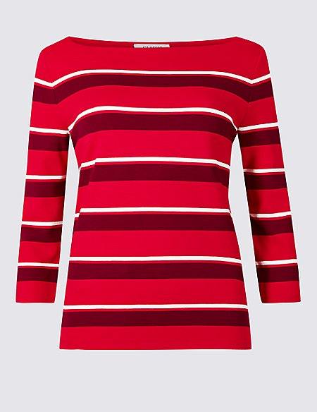 Striped Boat Neck 3/4 Sleeve Top