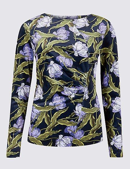 Floral Print Velvet Long Sleeve Top