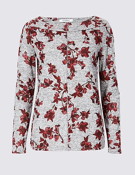 Floral Print Round Neck Long Sleeve Top
