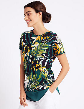Cotton Rich Palm Print Short Sleeve Tunic