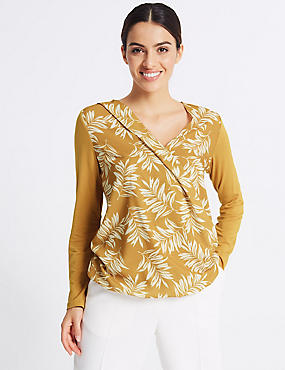Printed V-Neck Long Sleeve Top