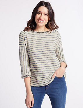Cotton Rich Striped 3/4 Sleeve T-Shirt