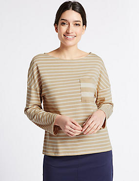 Pure Cotton Striped Pocket T-Shirt