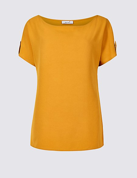 Woven Front Round Neck Short Sleeve Top