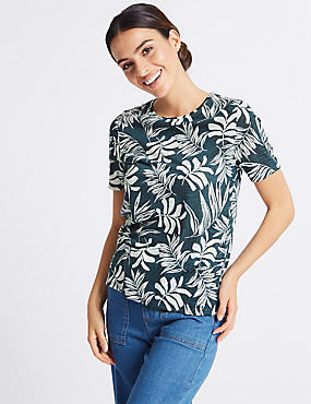 Palm Print Round Neck Short Sleeve T-Shirt