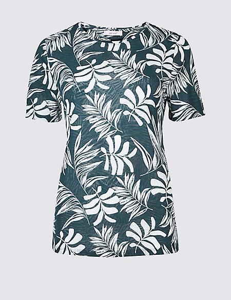 Palm Print Short Sleeve Burnout T-Shirt
