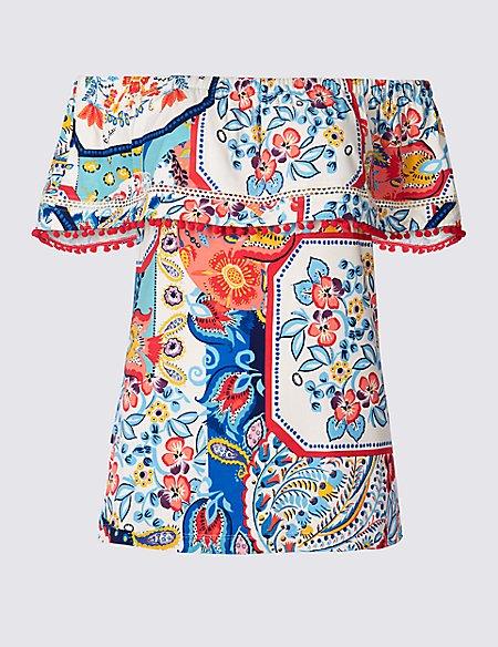 Floral Print Short Sleeve Pom-Pom Bardot Top