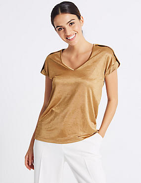 V-Neck Pleated Shoulder Short Sleeve Top