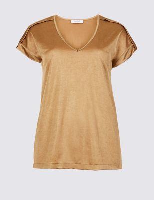 V Neck Pleated Shoulder Short Sleeve Top by Marks & Spencer