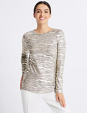 Animal Print Foil Long Sleeve Top