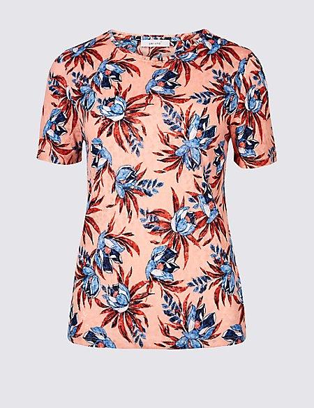 Floral Print Short Sleeve Burnout T-Shirt