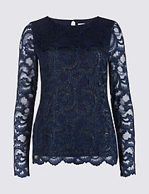 Sparkly Lace Slash Neck Long Sleeve Top