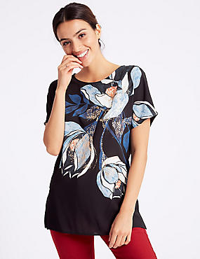 Printed Round Neck Short Sleeve Top