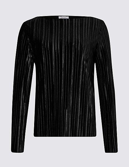 Striped Slash Neck Long Sleeve Top