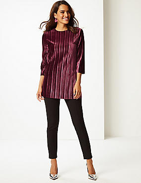 Velvet Round Neck 3/4 Sleeve Tunic