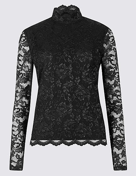 Lace Funnel Neck Long Sleeve Top