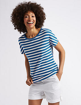 Striped Tie Back Short Sleeve T-Shirt