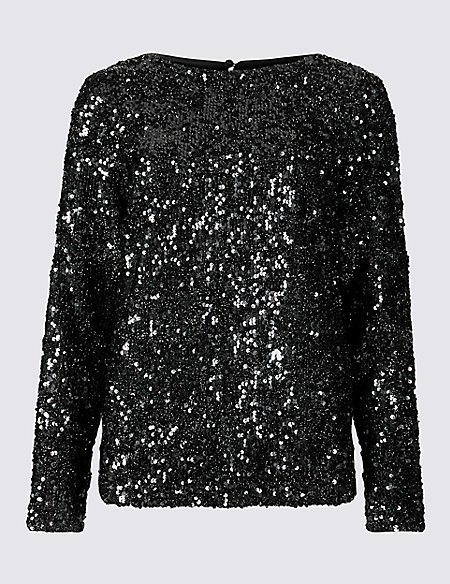 Sparkly Round Neck Long Sleeve Top