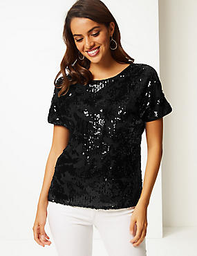 Sparkly Round Neck Short Sleeve Top