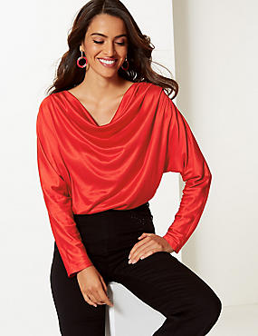 Satin Cowl Neck Long Sleeve Top
