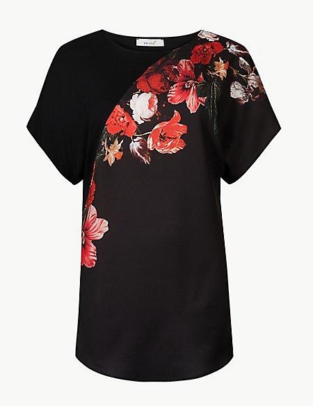 Floral Print Round Neck Short Sleeve Blouse