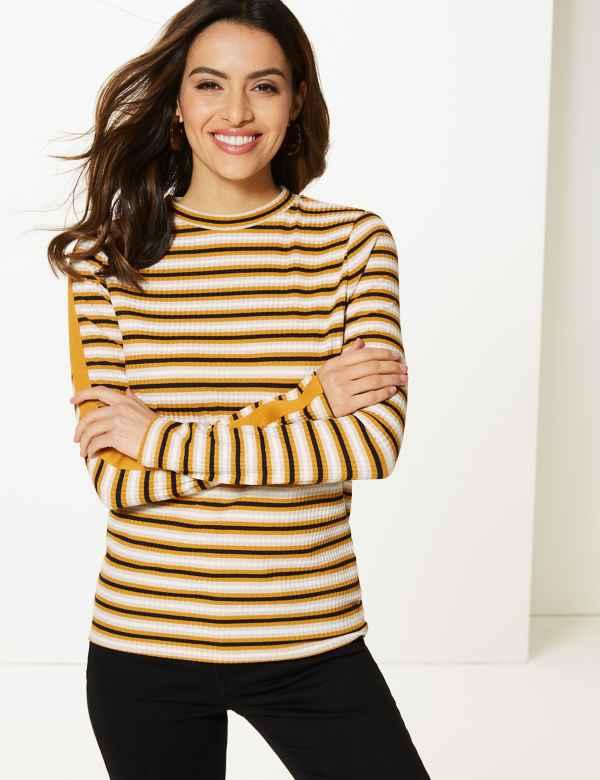 Striped Round Neck Long Sleeve T-Shirt 1d8ab69483c