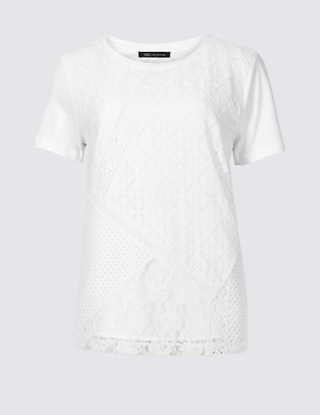 Pure Cotton Lace Short Sleeve T-Shirt