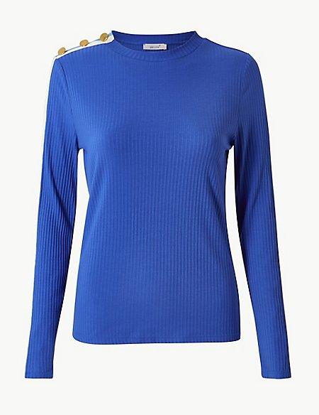 Textured Round Neck Long Sleeve T-Shirt
