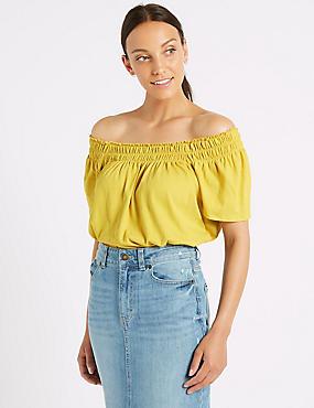 Cotton Rich Short Sleeve Bardot Top