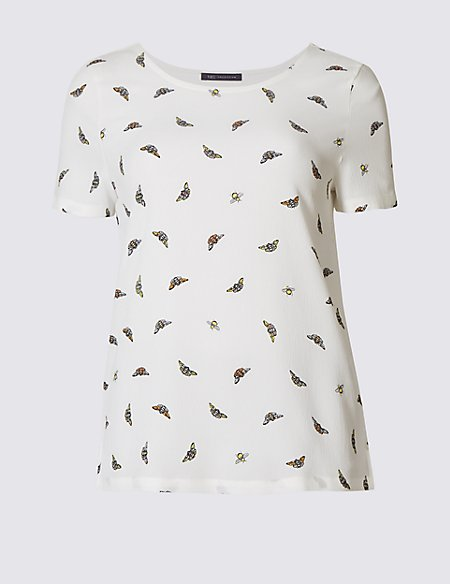 Bee Print Round Neck Short Sleeve T-Shirt