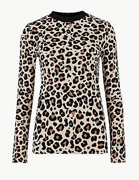 Animal Print Ribbed Long Sleeve Top