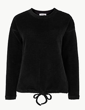 Cotton Rich Textured Long Sleeve Sweatshirt