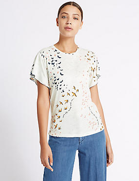 Cotton Blend Printed Short Sleeve T-Shirt