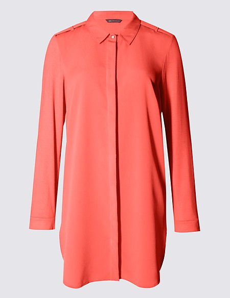 Collared Neck Longline Shirt