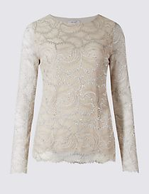 Metallic Lace Long Sleeve T-Shirt