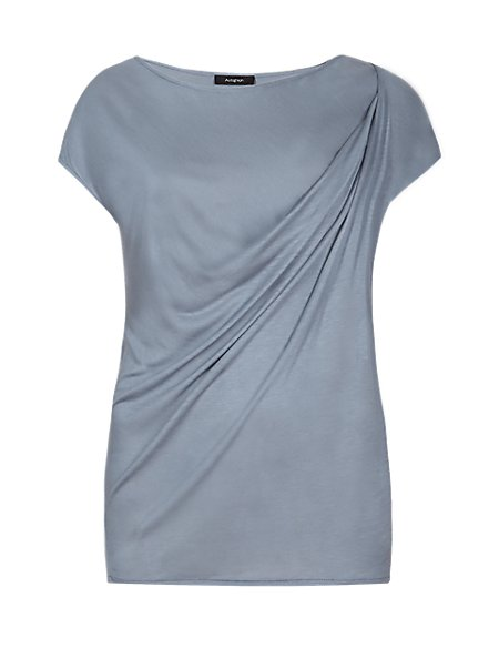 Round Neck Gathered Drape Top