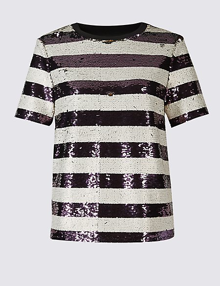 Sequin Striped Short Sleeve T-Shirt