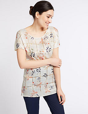 Floral Foil Print Woven Front Tunic