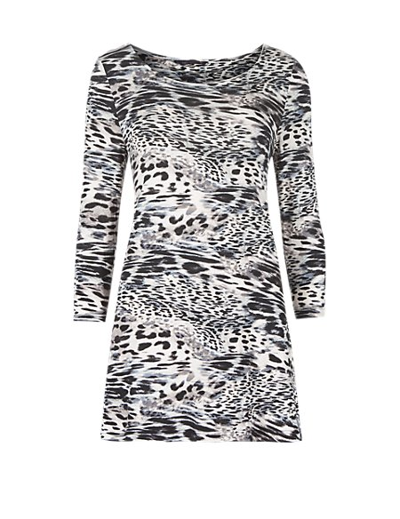 3/4 Sleeve Animal Print Tunic