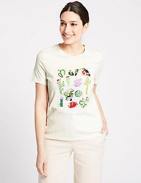 Pure Cotton Embellished Short sleeve T-Shirt
