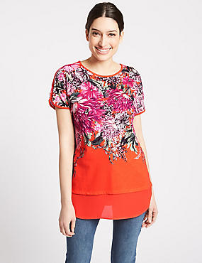 Cotton Rich Floral Print Short Sleeve Tunic