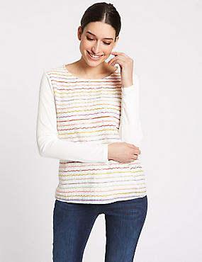 Printed Round Neck Long Sleeve Top