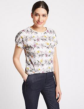 Cotton Blend Floral Print Short Sleeve Top